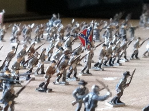 Miniature Confederate Troops Attempting To Help Settle The Issue of State Secession