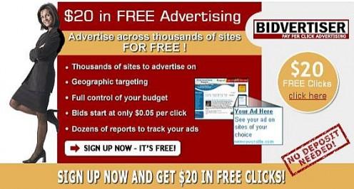 Bidvertiser - Get $20 Free Clicks!