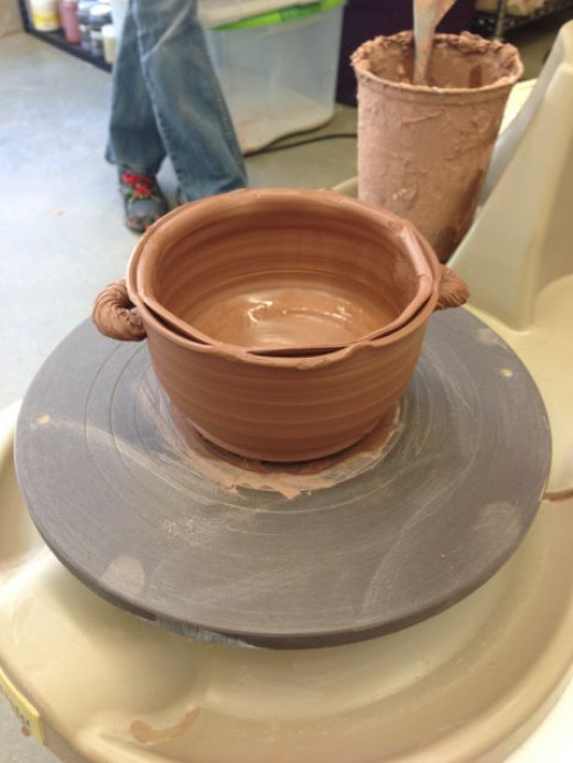 I've been exploring interesting lips to clay pots. This one is a split lip.