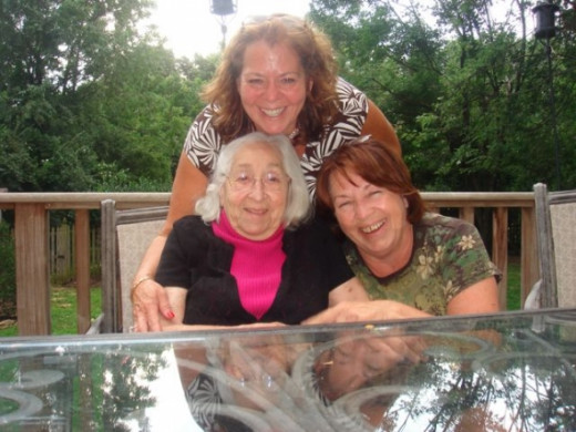Sharyn, me and Mom on my back deck