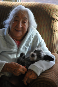 94 year old woman and dog