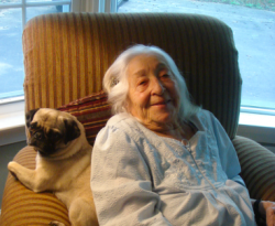 elderly woman with dog
