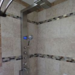 The Blue Ocean Stainless Steel Shower Panel In Action