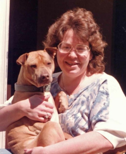 This was my very first heart dog - the one who changed my life forever. This is me (no need to comment on the hair or glasses....) and Chesapeake.