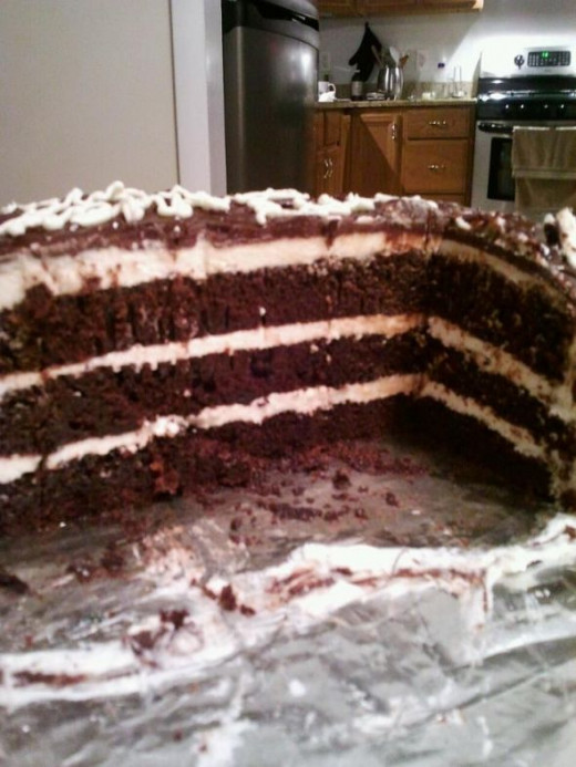 Chocolate cake with buttercream frosting - this one didn't make it through the door.