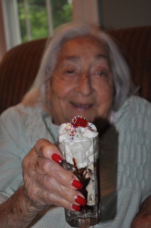 Mom with a Brown Cow dessert shooter