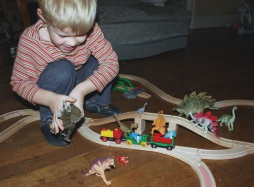 Brio trains with dinosaurs