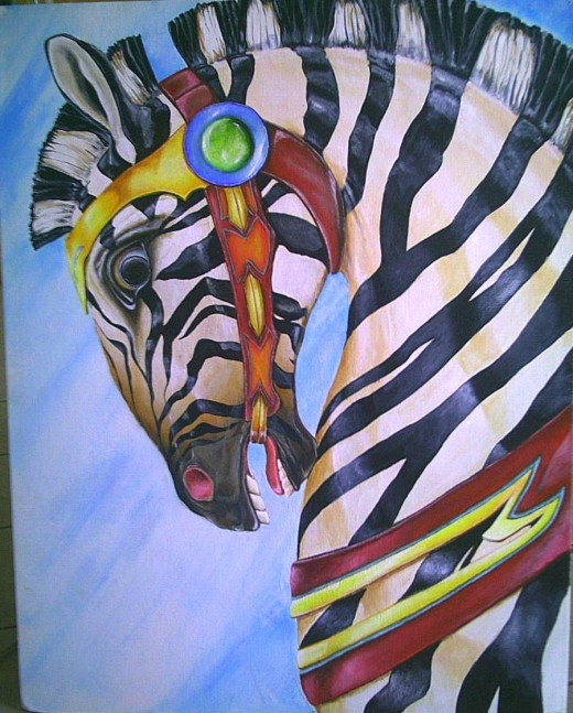 Carousel Zebra 28x30 Acrylic on canvasboard by slewis