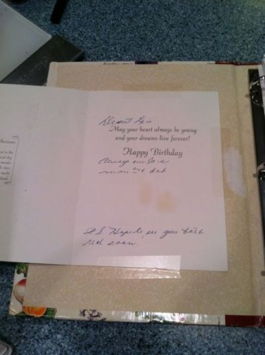 This is the inside of the birthday card my Mom gave me when she gave me the recipe book. It's taped to the inside cover.