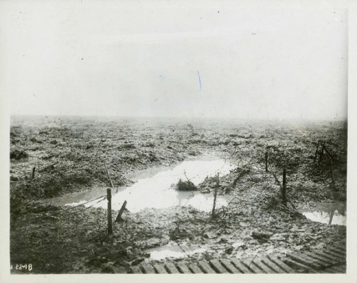 Shells knocked heavy craters into the ground that filled with water.