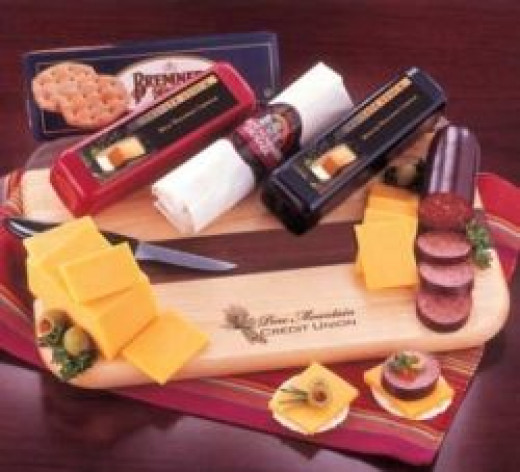 Holiday meat and cheese gift