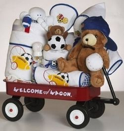 Cute little wagon decor from Baby Gifts & Gift Baskets