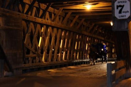 Horse-Drawn Carriage Coming Down Covered Bridge