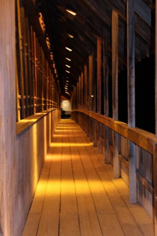 Covered Bridge: Walking Path Along The Side