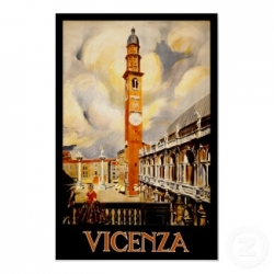 A vintage travel poster for Vicenza, believed public domain.