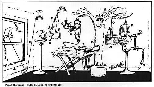 Rube Goldberg image borrowed from the Huffington Post