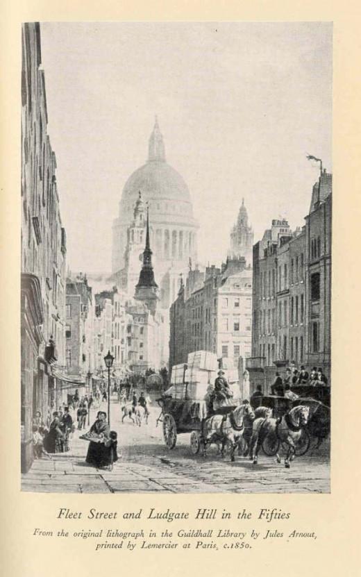 Fleet Street, London, in the mid 1800s