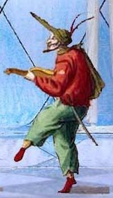 A Commedia dell'Arte character.