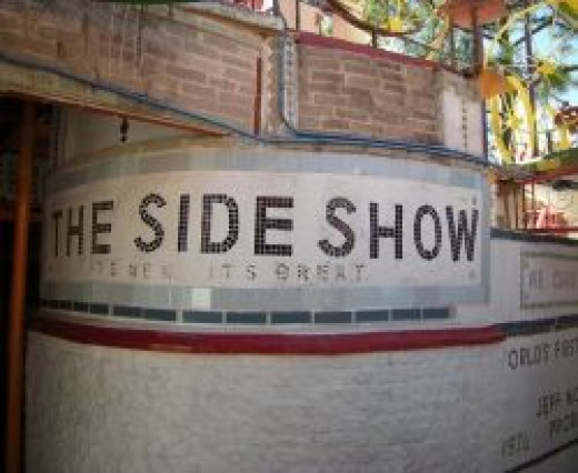 The Orange Show, sign for the Side Show stage