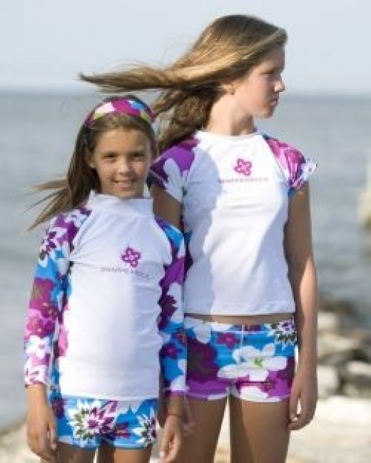 2 Piece Rash Guard Swimsuit for Girls