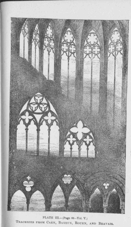 Illustration from John Ruskin's The Seven Lamps of Architecture, click on the pic to read it at Project Gutenberg.
