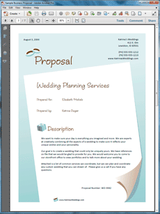 Business proposals for wedding planners