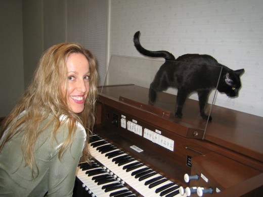 Molly hunts for kitty treats, sometimes walking on the keyboard while I am practicing.  She thinks she owns the organ.