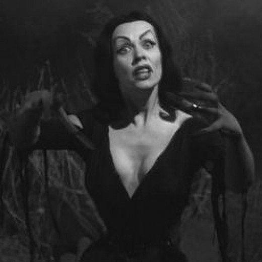 "Maila Nurmi as Vampira in the cult 1959 Ed Wood movie ""Plan 9 From Outer Space"""