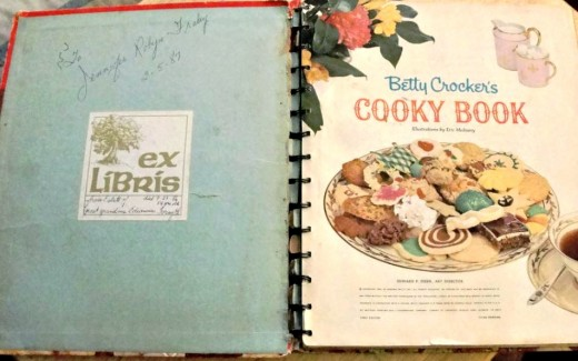 The inside cover of the Cooky Book.  You can see my grandmother wrote that it was a gift to me from the estate of my great-grandmother.