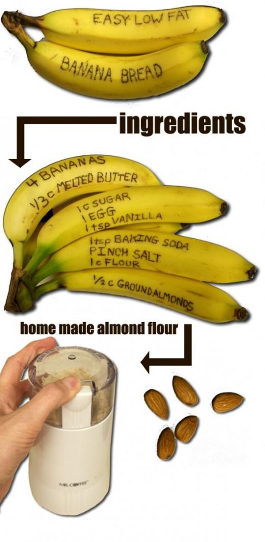 Click for full Easy Low Fat Banana Recipe Written in Banana Peels