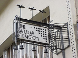 The Willow Tearooms sign, designed by Mackintosh, image borrowed from Art Deco Buildings