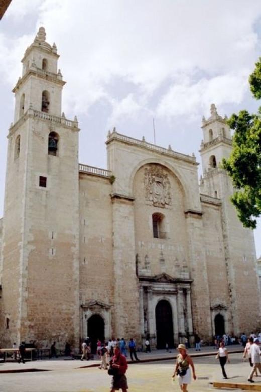Cathedral in Merida's Main Plaza