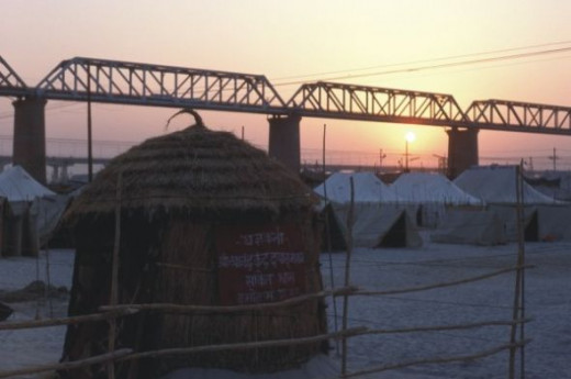 Sunset over the mela grounds.