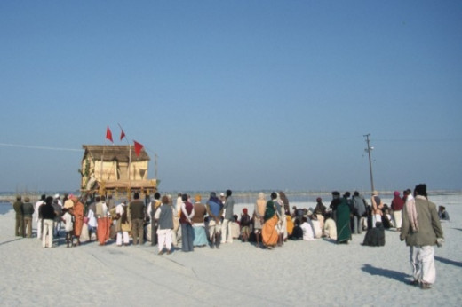 The outpost of Devhara Baba, a holy man reported to be more than 250 years old.