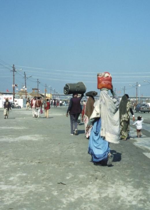 Pilgrims arriving at the Kumbh Mela.