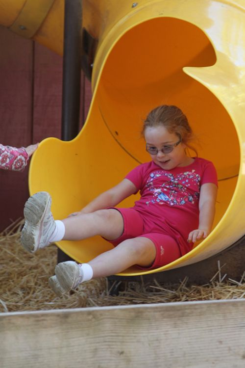 The big blue slide at Coyote Mountain isn't the only slide. This one, for instance, is in a barn. And it's free!