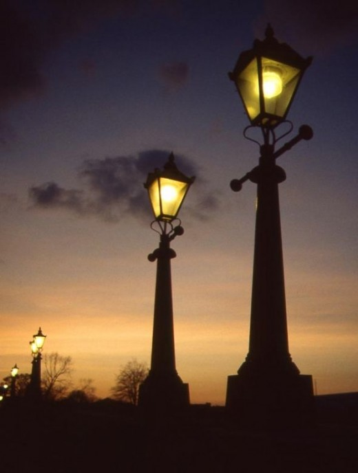 I took this photo of street lights in England during a 1988 trip.