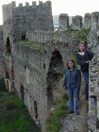 Two of our girls on the walls of Memur Castle.  You sure don't have to fight the crowds here!