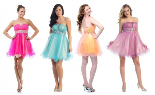 Cheap Short Strapless Prom Dress in 4 Colors