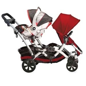 It comes with an infant carrier bar so you can easily place your infant's carseat along with one child's seat.