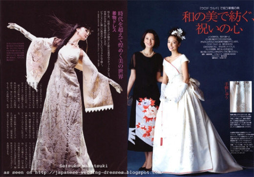 Modern takes on the kimono wedding dress by Setsuki Wakatsuki
