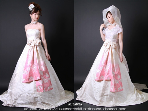 Princess-line wedding gowns accented with a kimono fabric obi by Aliansa