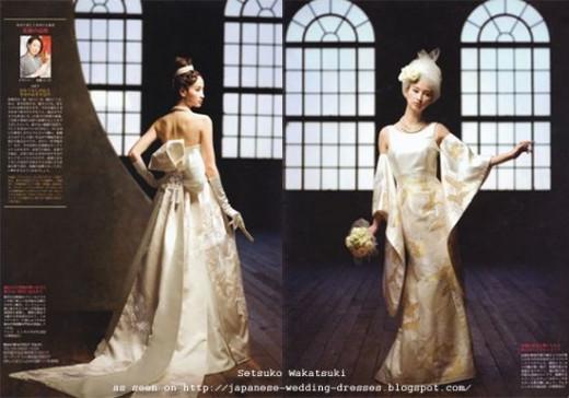 Modern kimono couture wedding dresses by Setsuki Wakatsuki