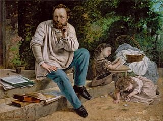 Proudhon and his children, by Gustave Courbet, 1865