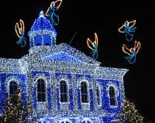 blue lights and lighted angels at Disney for Christmas