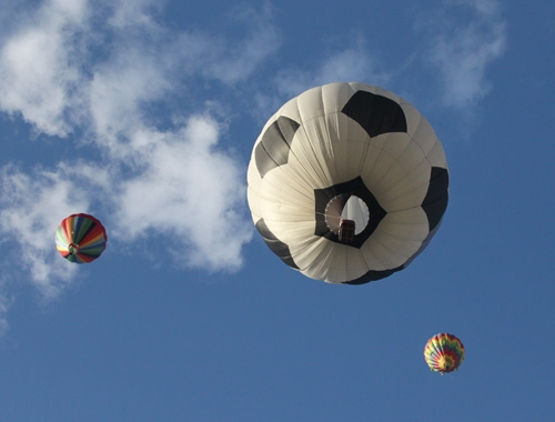 Seeing a giant flying soccer ball in the sky was quite a sight.