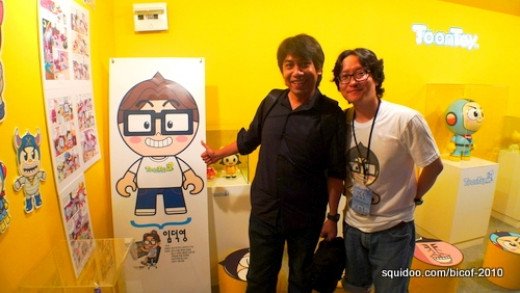 My husband Arnold Arre with Lim Duck Young, the creator of Toontoys.