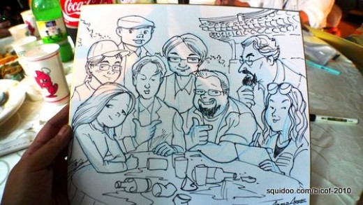My husband Arnold's impromptu sketch of everyone at our table.