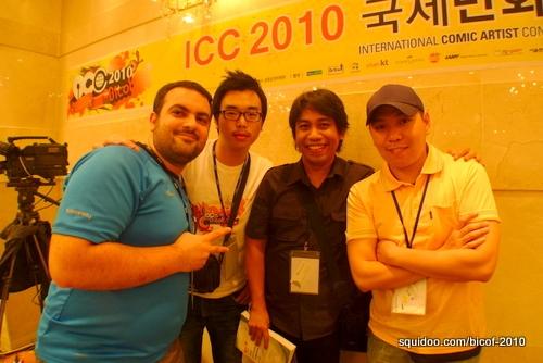 Arnold with comic artists Murat Bingol (Turkey), a student interpreter, and Razielmn Tsoon (Mongolia).