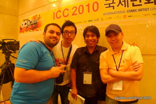 Arnold with comic artists Murat Bingol (Turkey), a student interpreter, and Razielmn Tsoon (Mongolia).